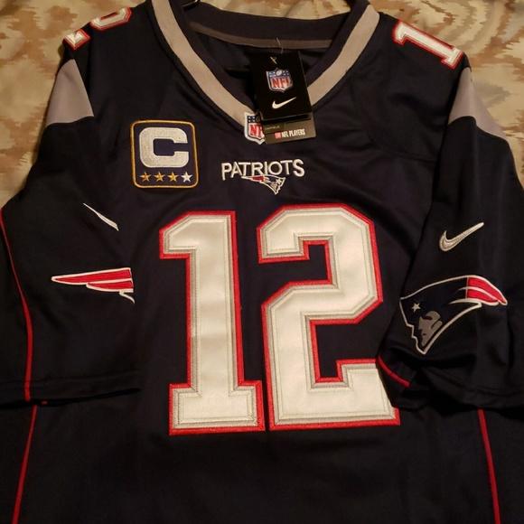 Tom Brady XL Captain Patch Stitched Jersey
